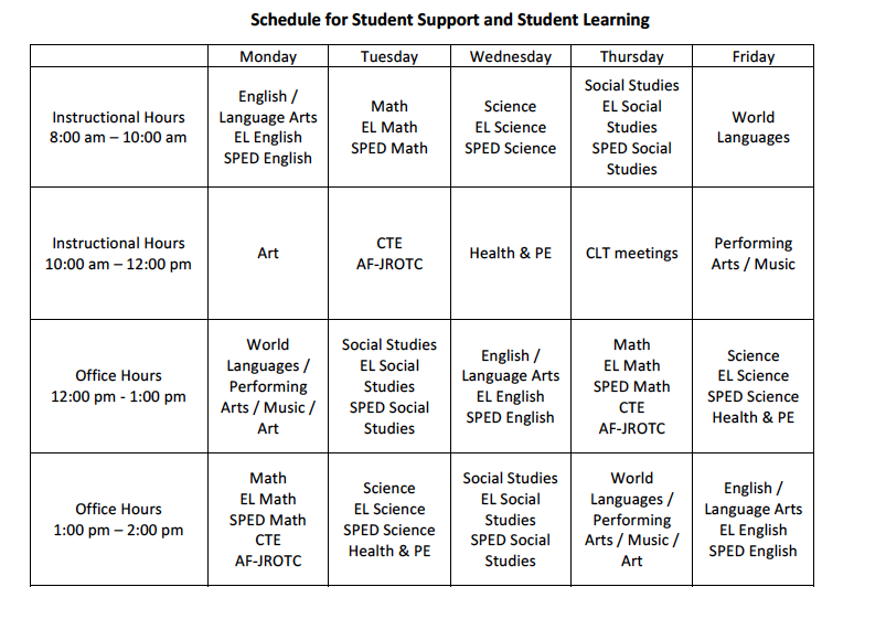 Schedule for Student Support and Learning
